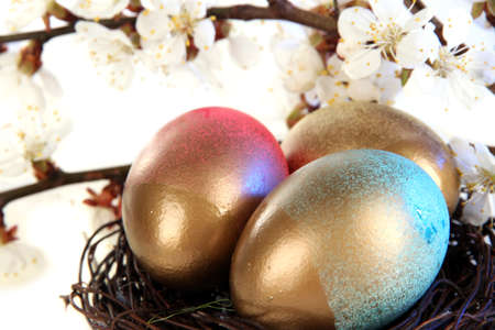 Easter eggs in nest with flowering branches on wooden table close-up photo