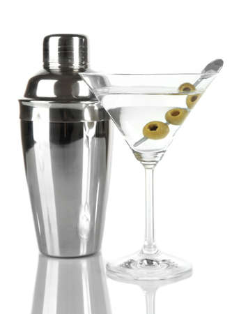 Martini glass with olives isolated on white  photo