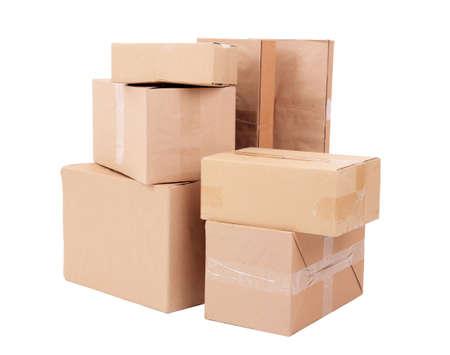 stockpiling: Diversas cajas de cart?islados en blanco