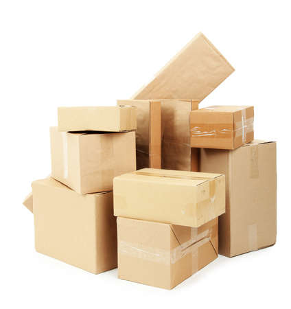 Different cardboard boxes isolated on white Stock Photo - 19764415