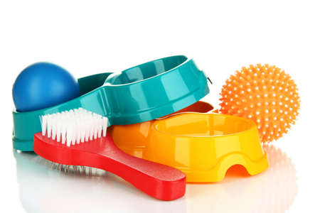 good grooming: Pet accessories isolated on white Stock Photo