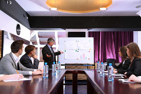 Boardroom meeting: Business training at office