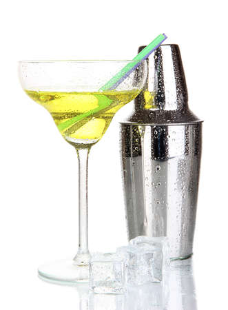 Cocktail shaker and cocktail isolated on white photo