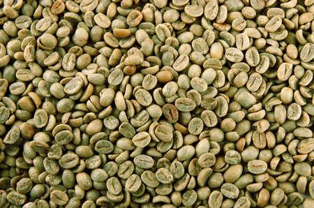 green bean: Green coffee beans, close up Stock Photo