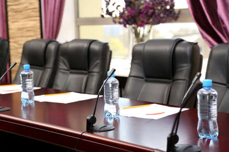 Boardroom meeting: Interior of empty conference room Stock Photo