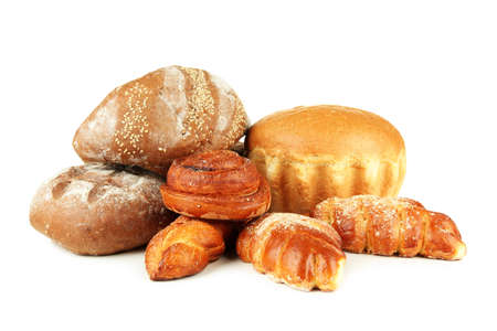 Composition with bread and rolls, isolated on white photo
