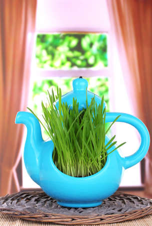 Green grass in decorative pot on window background photo
