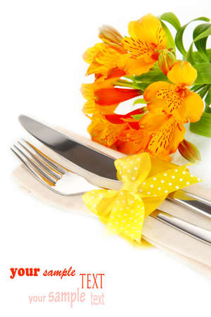 alstromeria: Festive dining table setting with flowers isolated on white