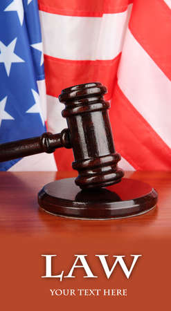 Judge gavel on American flag background photo