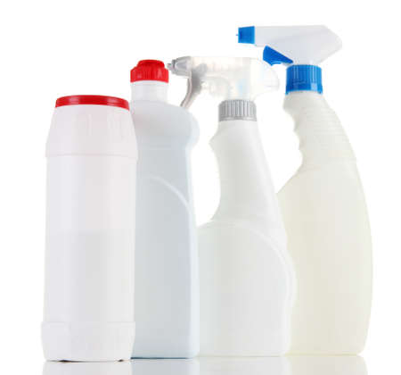 Different kinds of kitchen cleaners, isolated on white photo