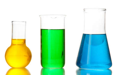 reagents: Test tubes with colorful liquids isolated on white