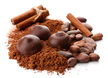 cocoa beans: Composition of chocolate sweets, cocoa and spices, isolated on white