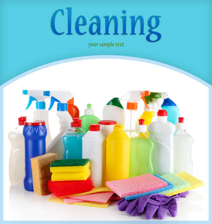 detergent: Different kinds of house cleaners and colorful sponges, gloves isolated on white Stock Photo