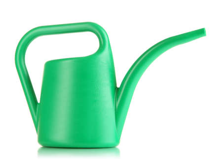Green watering can isolated on white photo