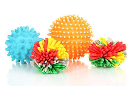 Rubber toys for pets isolated on white photo