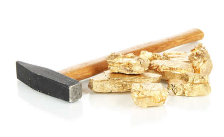 Golden nuggets with hummer isolated on white photo