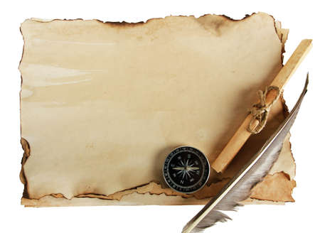 Old paper, scrolls and compass isolated on white photo