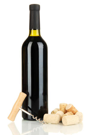 Wine and corks isolated on white photo