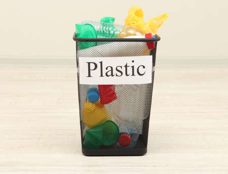 Bucket for waste sorting on room background photo