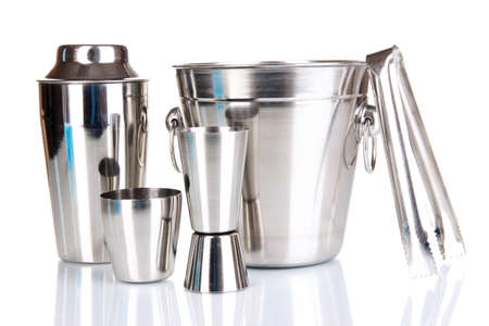 Cocktail shaker and metal ice bucket isolated on white  photo