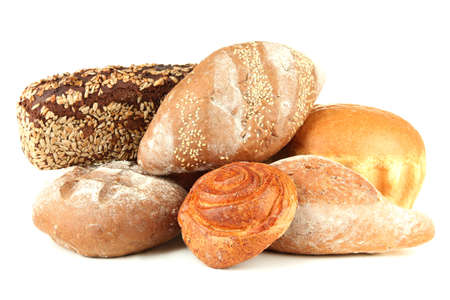 Composition with bread and rolls, isolated on white Stock Photo - 19958540