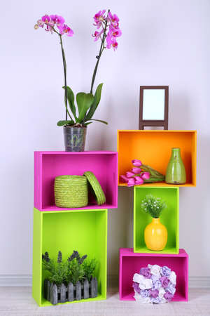 Beautiful colorful shelves with different home related objects Stock Photo - 19991602