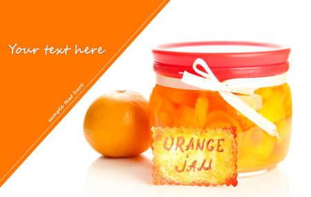 Orange jam with zest and tangerine, isolated on white photo