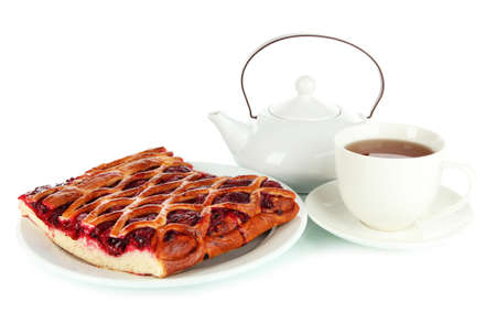 Cherry Pie with tea isolated on white photo