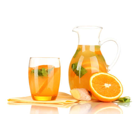 Orange lemonade in pitcher and glass isolated on white Stock Photo - 19988951