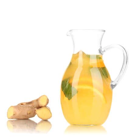 Orange lemonade in pitcher isolated on white Stock Photo - 19988846