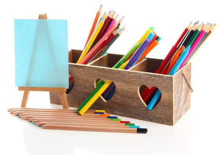 Different pencils in wooden crate and easel, isolated on white Stock Photo - 19988741