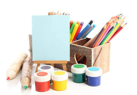 Different pencils in wooden crate, paints and easel, isolated on white Stock Photo - 19988739