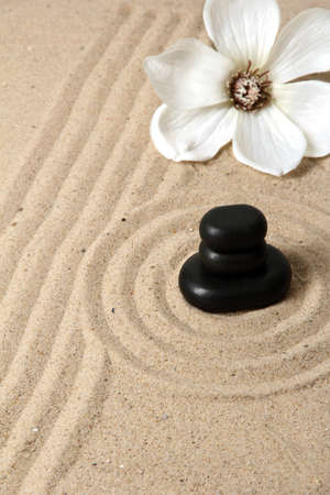 Zen garden with raked sand and round stones close up Stock Photo - 20012670