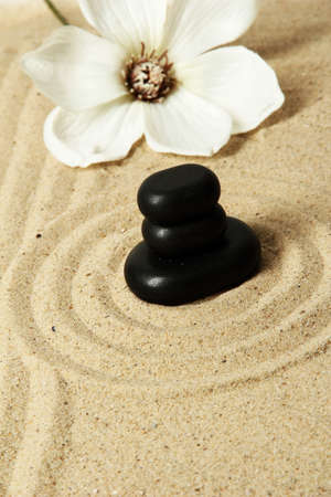 Zen garden with raked sand and round stones close up Stock Photo - 20012571