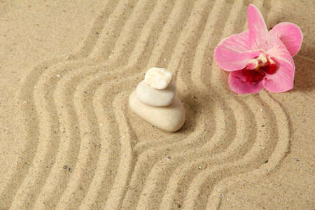 Zen garden with raked sand and round stones close up Stock Photo - 20012679
