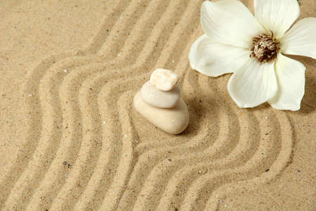 Zen garden with raked sand and round stones close up Stock Photo - 20012680