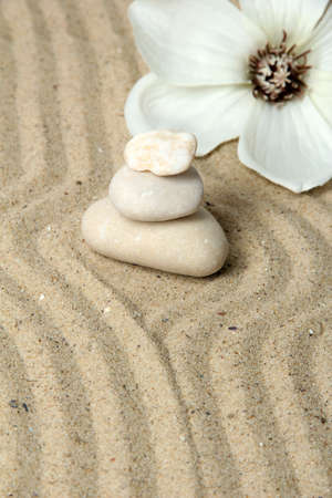 Zen garden with raked sand and round stones close up Stock Photo - 20012645