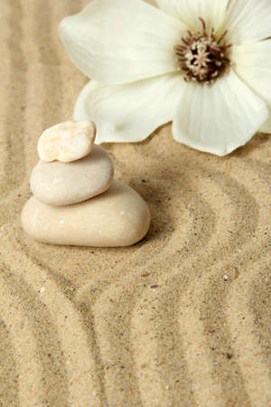 Zen garden with raked sand and round stones close up Stock Photo - 20012636