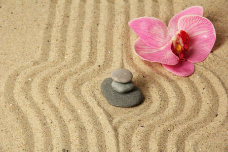 Zen garden with raked sand and round stones close up Stock Photo - 20012647