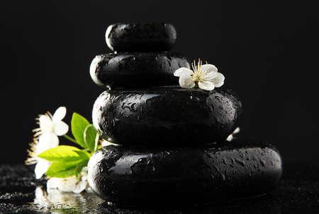zen stone: Spa stones and white flowers isolated on black Stock Photo
