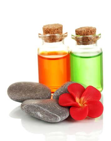 Bottles with basics oils isolated on white Stock Photo