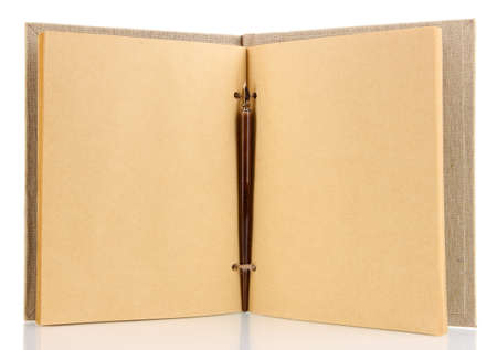 Beautiful old notebook isolated on white photo