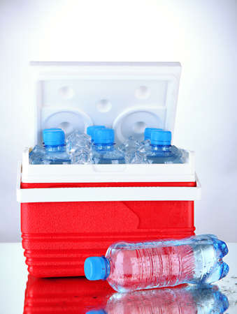 Traveling refrigerator with bottles of water and ice cubes, on grey background photo
