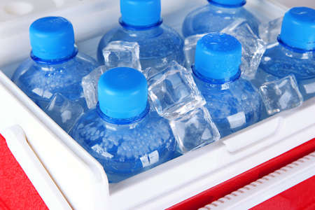 Bottles of water and ice cubes in traveling refrigerator, close up photo