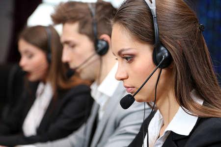 servicios publicos: Llame a los operadores de centros de trabajo Foto de archivo