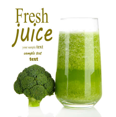drink: Glass of broccoli juice, isolated on white Stock Photo