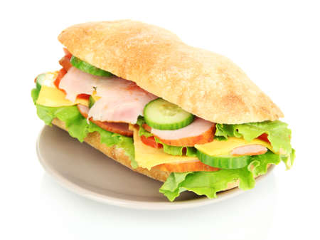 sub sandwich: Fresh and tasty sandwich with ham and vegetables isolated on white