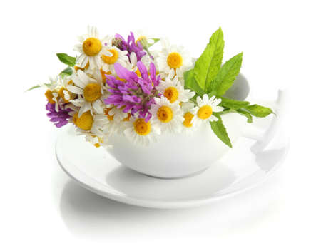 Beautiful wild flowers and mint in cup, isolated on white photo