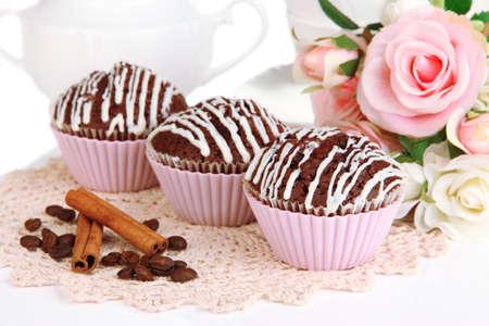bakeware: Sweet chocolate cupcakes close up