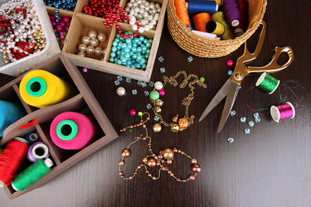 bead jewelry: Workplace of jewellery  maker close-up Stock Photo